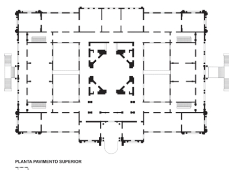 Figure 1: Schematic design of the upper floor of the building that houses the Pinacoteca of the State of São Paulo. Source: Redrawn of the author, 2017.